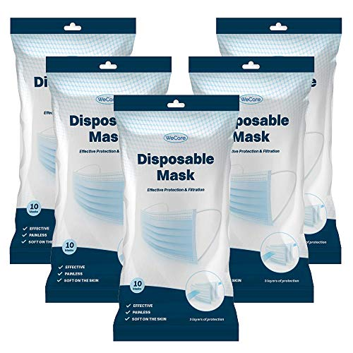 WeCare Disposable 3 Ply Face Masks - 50 Count, 5 Packs of 10 -3 Layer Protectors