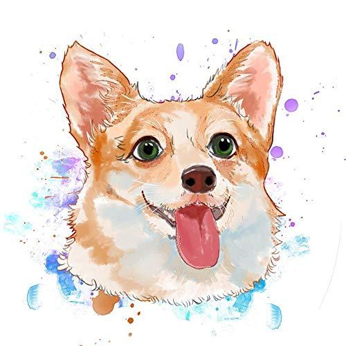 Amrzxz DIY-Avatar de Perro de Dibujos Animados DIY Pintura por números, DIY Pintura al óleo Digital sobre Lienzo Regalo(sin Marco) 45x45cm
