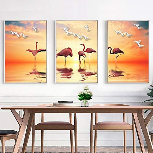 ganlanshu Decorazione Domestica Moderna della Pittura a Olio del trittico del Lago dell'uccello del Paesaggio Dorato Dorato splendido del Tramonto,Pittura Senza Cornice,40X60cmx3