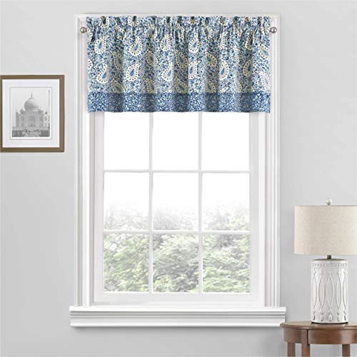 """Waverly Paisley Verveine Short Valance Small Window Curtains Bathroom, Living Room and Kitchens, 52"""" x 18"""", Blue Jay"""