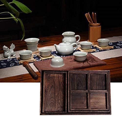 funnyfeng Juego de 7 bandejas de té de madera de estilo vintage, para hoteles, bandejas, frutas, postres, bandejas, juego de 7 piezas, adecuado para la oficina en casa