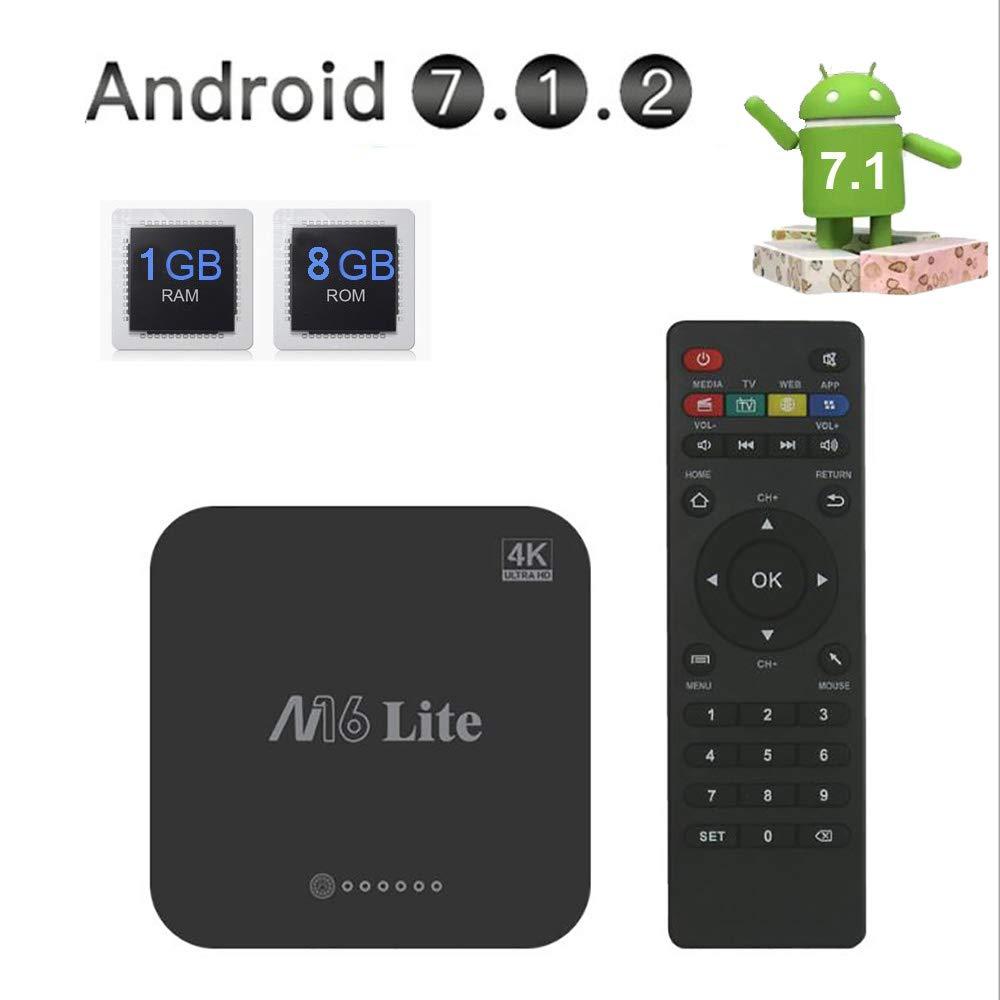 WFGZQ Android TV Box 1GB RAM + 8GB ROM, Android 7.1 TV Box H3 Quad-Core Smart TV Box, Compatible con 2.4Ghz WiFi H.265 HDMI DLNA Dispositivo De Medios: Amazon.es: Hogar