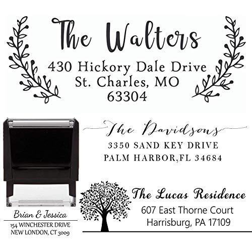 Address Stamp - Personalized Customized Stamp - Self-Inking Return Address Mail 3 Lines Custom Address Stamper - Black Red Blue Purple Green Ink - Wedding Invitation Stamp (Style 6)