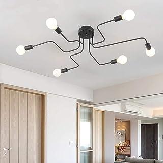 Plafonnier Industriel, 6-Lumières Lustre Noir, E27 Lampe Plafond Industrielle Vintage, pour Salon Chambre Cuisine Loft Bar...