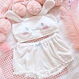 FDRE Pijama Traje de Encaje Sexy Conejito Lindo Conjunto de Ropa Interior de Mujer L Blanco
