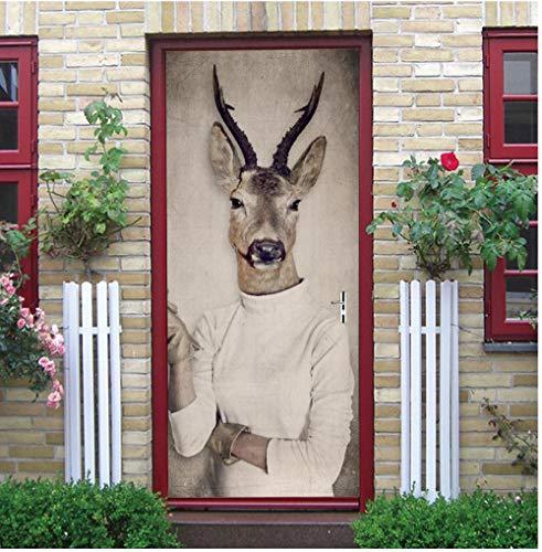 3D Deur Sticker Creatieve Humanoïde Witte Trui Herten Hoofd Home Decoratie Woonkamer Slaapkamer Kinderkamer Vinyl Verwijderbare PVC muurschildering 90x200cm