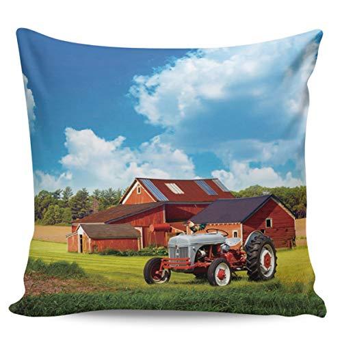 Scrummy Fundas de almohada de 66 x 66 cm, diseño de granja rojo, granero, azul cielo nubes estadounidenses, estilo tradicional rústico, funda de cojín cuadrada para decoración del hogar