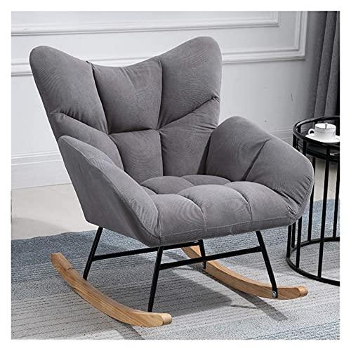KUYH Silla mecedora de la sala de estar, silla mecedora de tela, sofá reclinable individual, sala de estar familiar, dormitorio, balcón (color: gris)