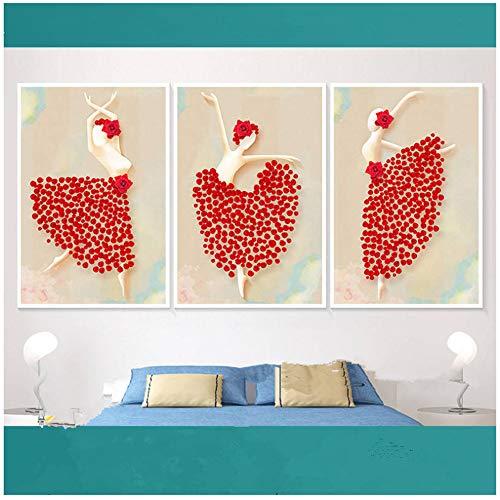 Canvas Schilderij Rose Ballerina Minimalistische Abstracte Wall Art Pictures Voor Woonkamer Home Decor 50x70cm (19.7