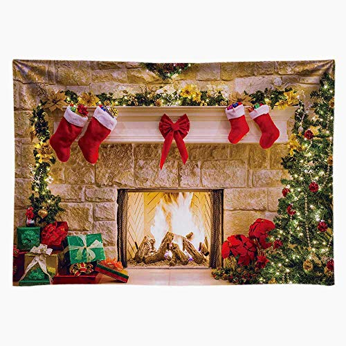 Funnytree 7x5ft Durable Christmas Fireplace Backdrop No Wrinkles Fabric Interior Vintage Xmas Tree Stockings Photography Background Portrait Photobooth Party Banner Decorations Photo Studio Props