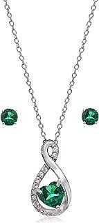 Sterling Silver Gemstone & White Topaz Infinity Heart Necklace Earrings Set