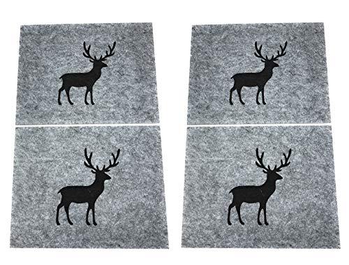 Boltze Collections Tischset aus Filz Hirsch 4 Stück 35x45 cm grau