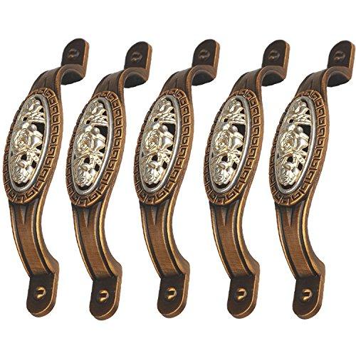 FBSHOP(TM), 5 pomelli vintage in lega di zinco, stile shabby chic, per armadi, cassetti, credenze, camera da letto, bagno