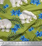 Soimoi Grüne Blätter Aus Kreppsatin, Blaue Blume Und