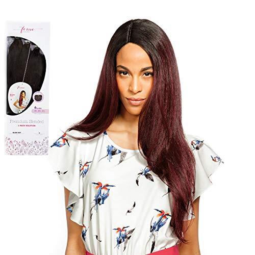 Lot complet de 6 mèches + Closure Feme Collection - Blended - Blow Out - One Pack Solution Human Hair Blend Weave - Couleur : 1B (noir naturel)