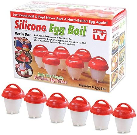 Silicone Egg Cooker Hard Boiled Eggs Without The Shell Non Stick Set 6 Egg Cups For Hard Soft product image