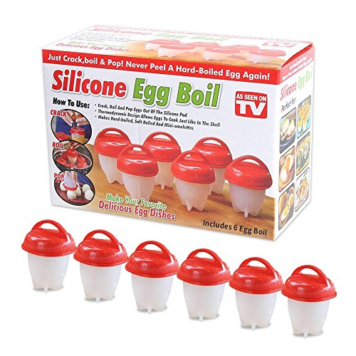 Silicone Egg Cooker Hard Boiled Eggs Without The Shell Non Stick Set 6 Egg Cups For Hard&Soft Boiled As Seen On Tv One size