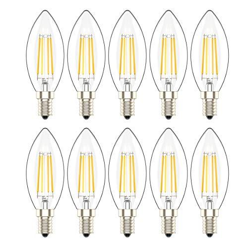 10er-Pack E14 Dimmbar LED Kerzenform Ersetzt 30W Glühlampen,Warmweiss 2700K, C35 3W,Klar Glas,360º Abstrahlwinkel LED Birnen, LED Kerzenlampen, LED Kerzenleuchten, LED Leuchtmitte