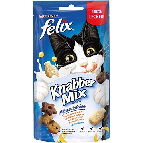 FELIX KnabberMix Milchmäulchen Katzensnack, Knusper-Leckerlie Laktosearm, 8er Pack (8 x 60g)