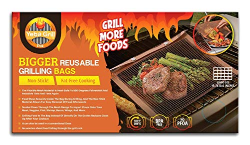 YebaGrill Pak (Jumbo)- Reusable Grilling Mesh Bag - Non Stick - Easy to Clean - Safe to use on Electric, Gas & Charcoal Grill