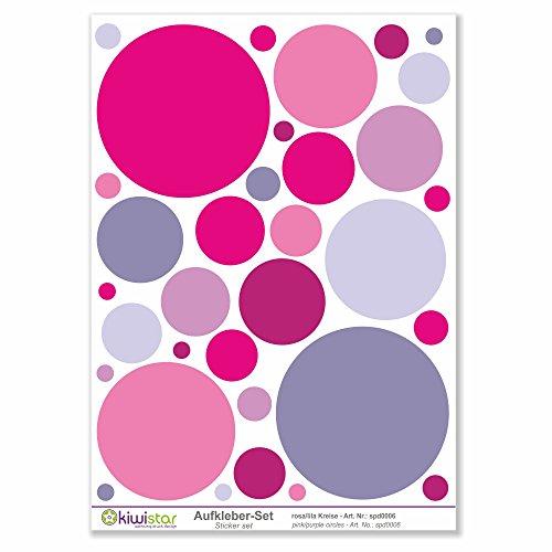 Kiwistar Lot de 33 ronds roses et violets autocollants - Surface totale :, Rosa, Bogengröße_A2 ca. 60x40cm