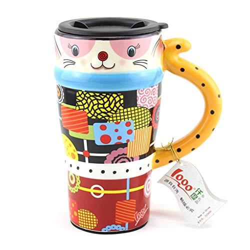 CJH Couple créatif tasse chat peint tasse animal mignon tasse avec couvercle avec cuillère tasse de café en céramique jaune