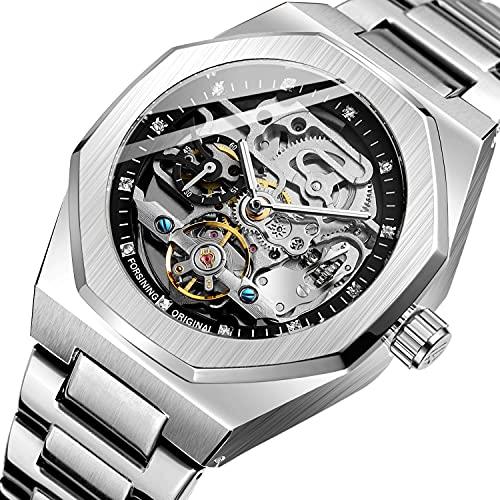 ZFAYFMA Reloj automático, Metal Ejército Tourbillon Acero Inoxidable Steampunk Hollok Hollok Mecánico Reloj Mecánico Hueco Silver