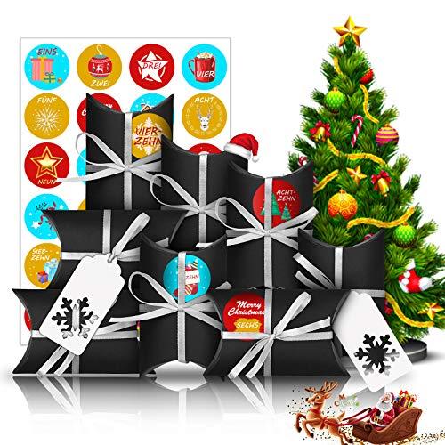 Adventskalender zum Befüllen, 24 Adventskalender Tüten Klein Geschenkschachtel mit 1-24 Adventszahlen, Weihnachten Geschenksäckchen DIY Deco Weihnachtskalender Bastelset für Männer Kinder (Blau Gelb)