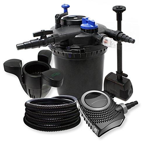 Kit Filtration Pression:30000l Filtre, 18W UV Stérilisateur, Pompe, Tuyau, Pompe Fontaine et Skimmer