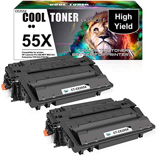 Cool Toner Compatible Toner Cartridge Replacement for HP 55X CE255X 55A CE255A HP P3015 Toner Cartridge Laserjet Pro 500 MFP M521dn P3015dn P3015x M525f M525dn P3011 M521 M525 Toner Ink (Black 2Pack)