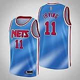 LYY Jerseys De Baloncesto para Hombres, NBA Brooklyn Nets # 11 Kyrie Irving - Camiseta Clásica De Ropa Sin Mangas Sin Mangas, Tops De Uniformes De Tela Confort,Azul,S(165~170CM)