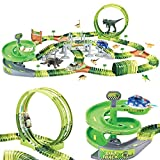 Dinosaur Track Toy Set 280 PCS, Flexible Race Track Playset with 240 Tracks, 2 Race Cars, 1 Ferris wheel (360 Degree...