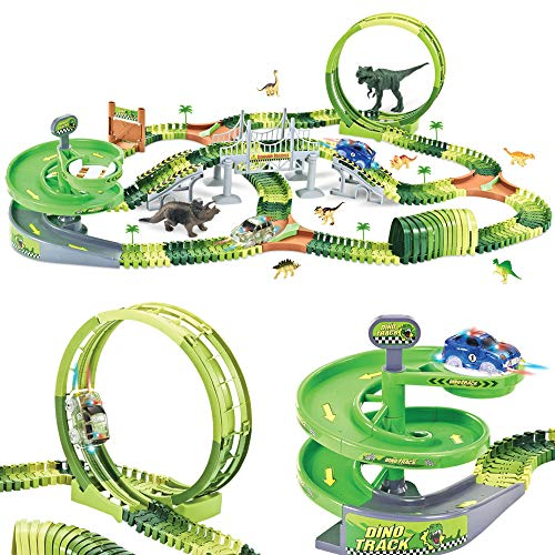Dinosaur Track Toy Set 280 PCS, Flexible Race Track Playset with 240 Tracks, 2 Race Cars, 1 Ferris wheel (360 Degree Rotation). 1 Rotary U-Turn Tower, Dinosaur Toy for Kids Boys Girls Ages 3-12