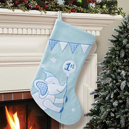 HAUMENLY Christmas Stocking, Baby Boy 1st Christmas, Blue Elephant Xmas Sock Holiday Home Party Decoration