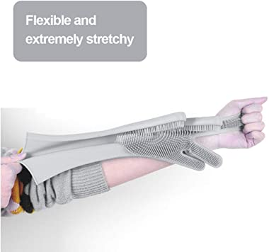 Luvina Magic Silicone Scrubbing Gloves, Scrub Cleaning Gloves with Scrubber for Dishwashing and Pet Grooming, Latex Free (Mul