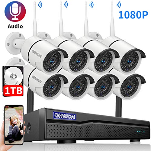 【2020 New】 Security Camera System Wireless, 1TB Hard Drive Pre-Install 8 Channel 1080P NVR, 8PCS 1080P 2.0MP CCTV WI-FI IP Cameras for Homes,OHWOAI HD Surveillance Video Security System.
