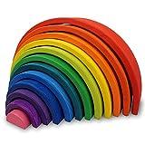 Piezas con diseño de arcoiris para apilar, juego educativo (Montessori Waldorf School) 12 Piece Rainbow