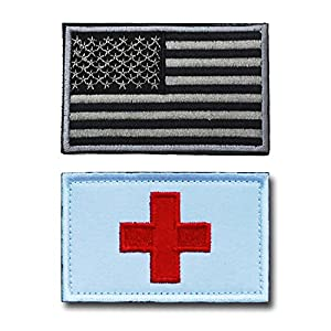 U.S. Patch Embroidery USA American Flag Tactical Morale Patch Medic Armband Magic Sticker with Flag by Feisuo (B)