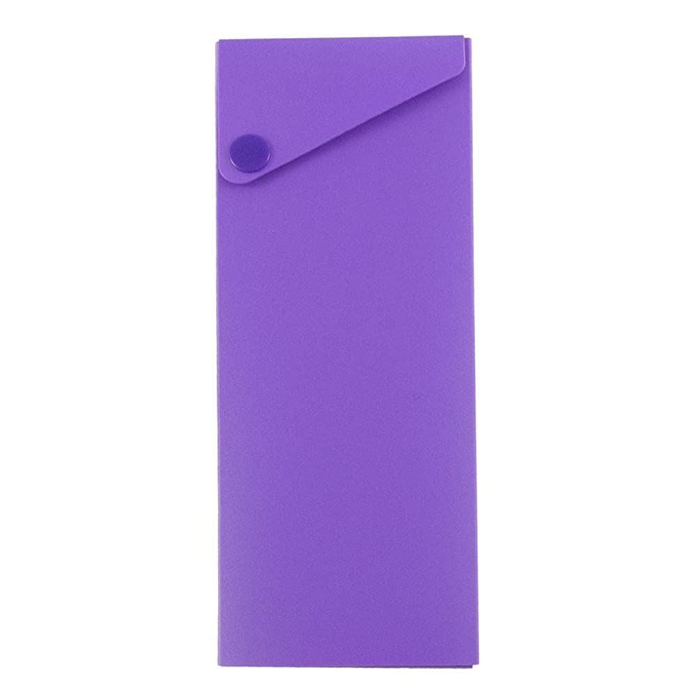 JAM PAPER Plastic Pencil Cases - Sliding Pencil Case Box with Button Snap - Purple - Sold Individually