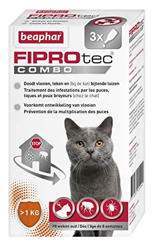 Beaphar – FIPROTEC COMBO au Fipronil et (S)-Méthoprène dosés à 50 mg/60 mg – Solution spot-on pour chats et furets (>1kg) – Agit contre puces, tiques et poux broyeurs – 3 pipettes de 0,5 ml