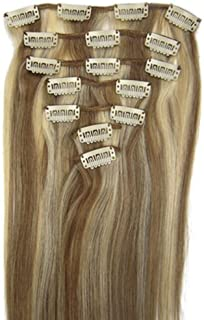 Lilu 20''7pcs Fashional Clips in Remy Human Hair Extensions 24 Colors for Women..