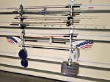 Garage Storage Rack for Garage Doors with Hooks for Fishing Rods, Kayak Paddles and Light Garden Tools