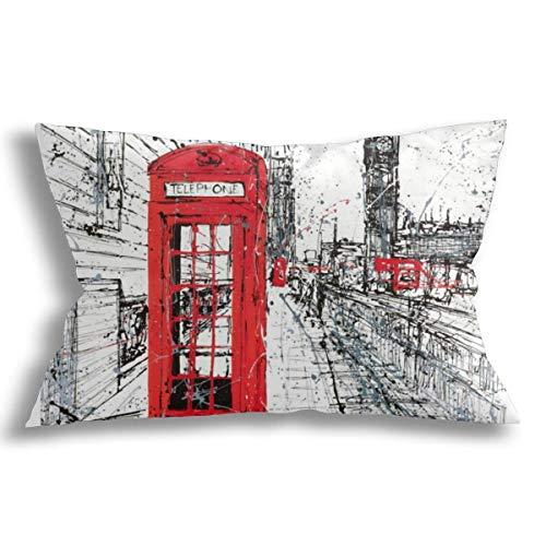 KCOUU Fundas de cojín decorativas de algodón suave transpirable, diseño moderno de Londres Street para sofá, cama, coche, con cremallera, 30 x 50 cm