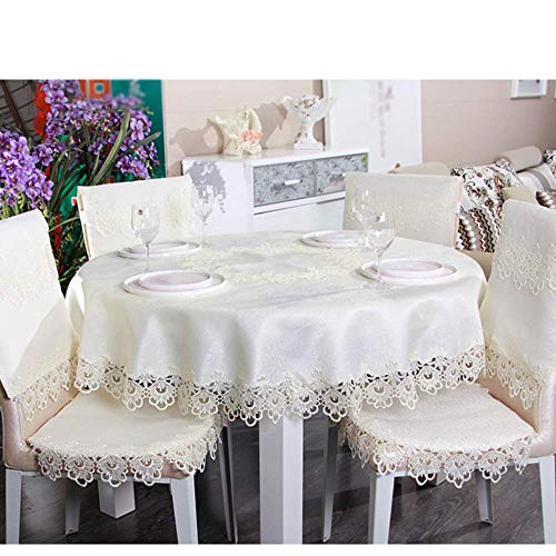N/X 1 pc Round/Rectangle White Lace Tablecloth Dining Table