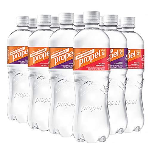 Propel Immune Support with Vitamin C + Zinc, Lemon Blackberry & Orange Raspberry Variety Pack, 24oz Bottles, Pack of 12