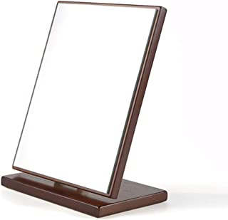 Vanity Mirror Desktop Makeup Mirror Multi-Angle Free Adjustment Angle Bracket Wooden Frame HD for Family (Color : Wood Color, Size : Large)