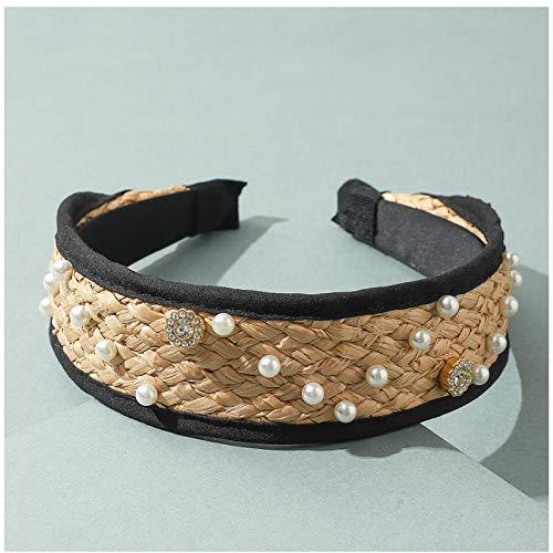 ASLKUYT Diadema de paja con perlas bohemias, diadema anudada tejida de verano para mujer, accesorios para el cabello con aro de cristal cruzado, 1 Uds.