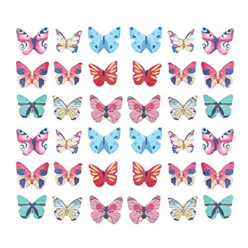 Tomaibaby 120 Piezas de Decoración de Pastel de Mariposa Decoración Colorida de Alimentos Papel de Obleas Mariposas Decoración de Pastel Adorno de Postre para Cupcakes de Boda