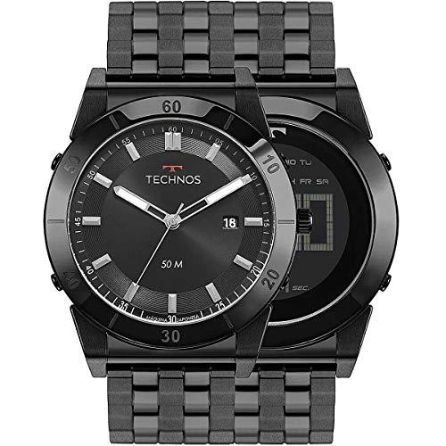 Relógio Technos Masculino Preto Pulseira Aço Preto