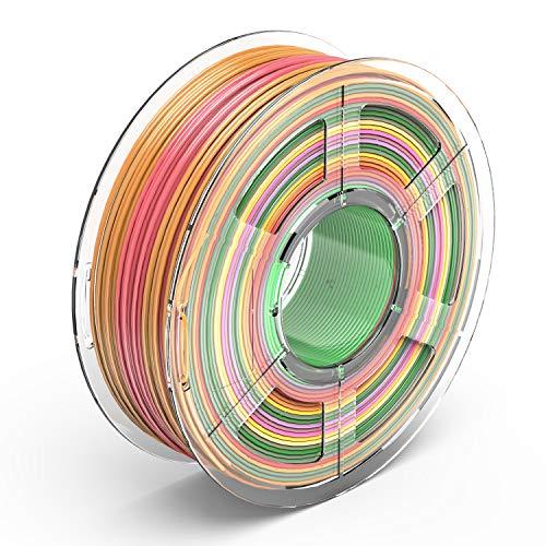 TECBEARS PLA 3D Filament Druckmaterialien 1.75mm Regenbogen, Dimensionale Genauigkeit +/- 0.02 mm, 1 Kg Spule, 1 Pack